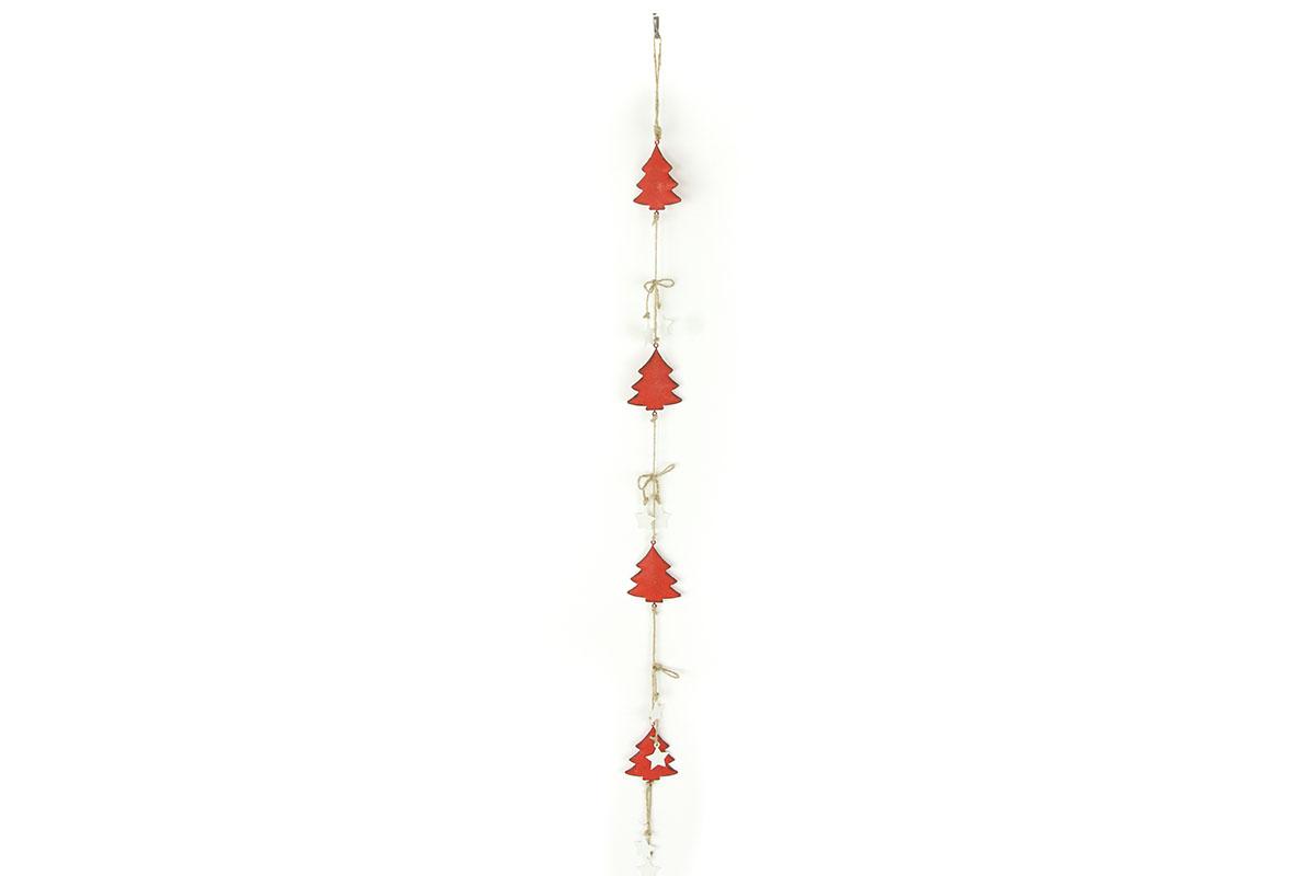 Autronic - Girlanda, vánoční dekorace s červenými kovovými stromečky - ZA8637