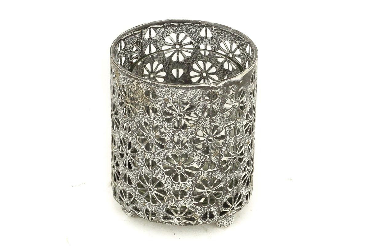 Autronic - Svícen, dekorace z kovu a skla. Jen pro čajové svíčky. - ZA8639
