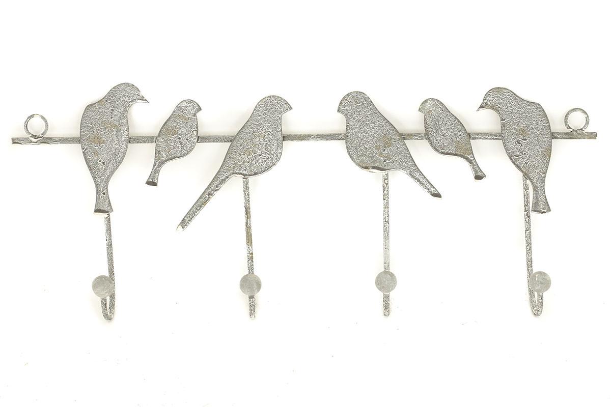 Autronic - Vešák s ptáčky, dekorace z kovu - ZA8645