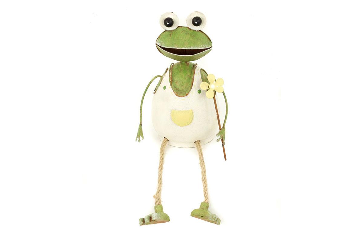 Autronic - Žába sedící, kovová dekorace, nohy z provázků - ZA8652
