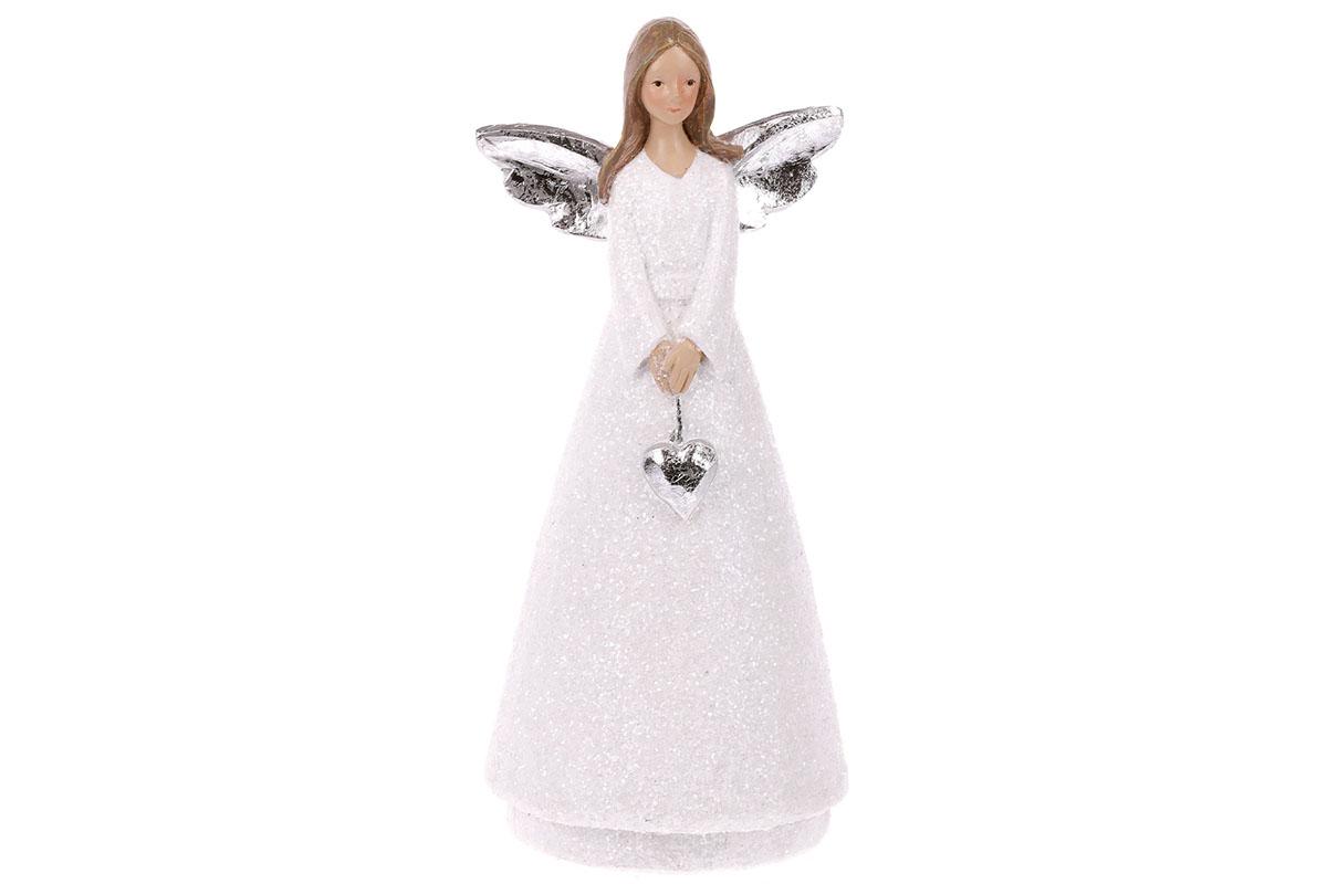 Anděl držící srdce, polyresin, bílo-stříbrná kombinace.