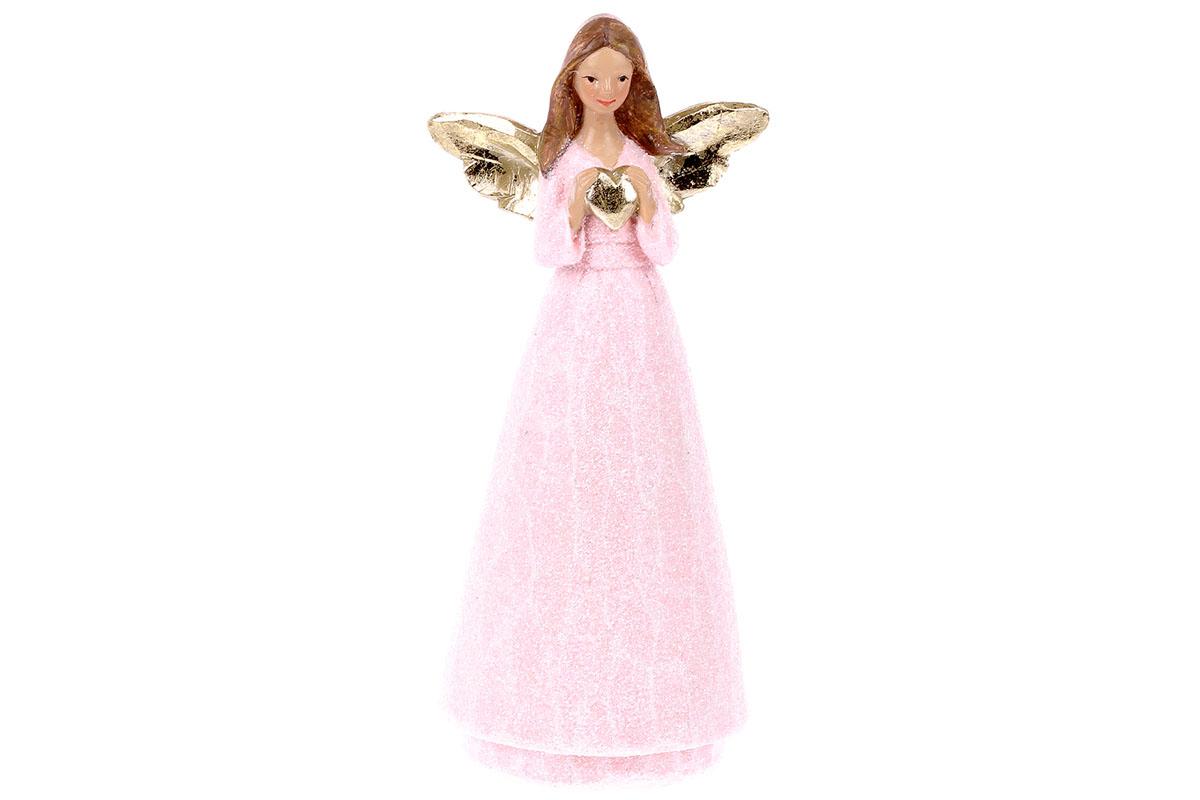 Anděl držící srdce, polyresin, růžovo-zlatá kombinace.