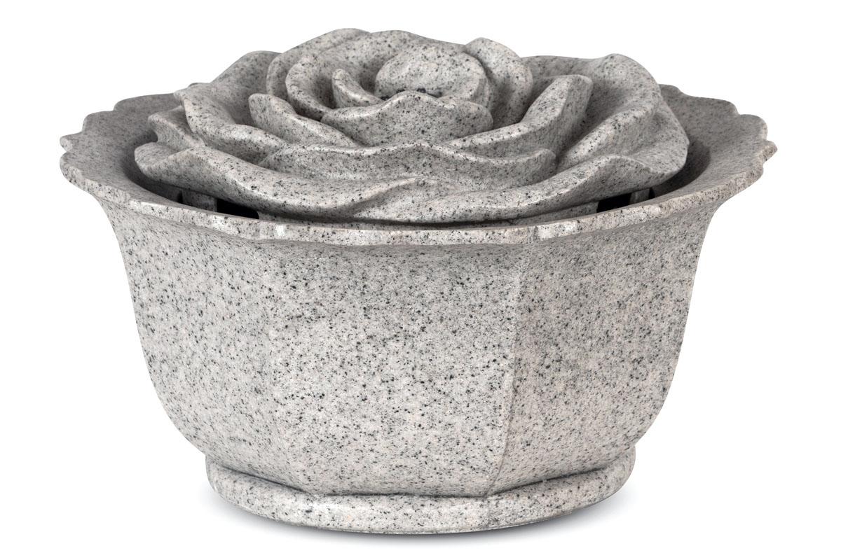 Autronic - Zahradní fontána s LED světlem, šedý polyresin v dekoru kámen, elektrické miničerpadlo 240V/12V - ZF5455