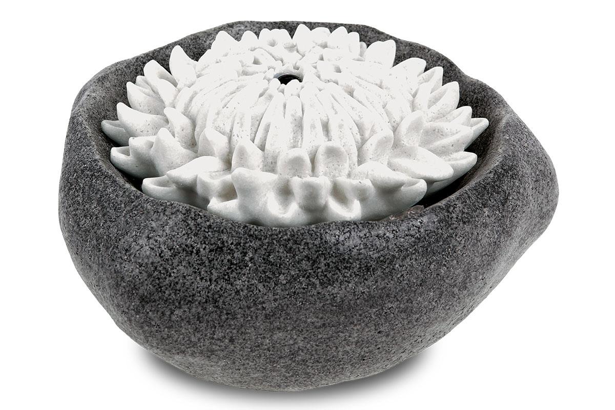 Autronic - Zahradní fontána s LED světlem, černý polyresin v dekoru kámen a bílý květ chrysantémy, elektrické miničerpadlo 240V/12V - ZF5478