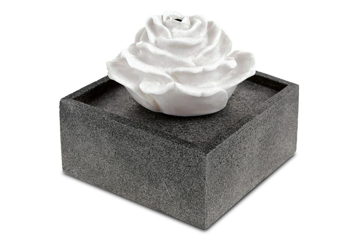 Autronic - Zahradní fontána s LED světlem, černý polyresin v dekoru kámen a bílá písková růže, elektrické miničerpadlo 240V/12V - ZF5479