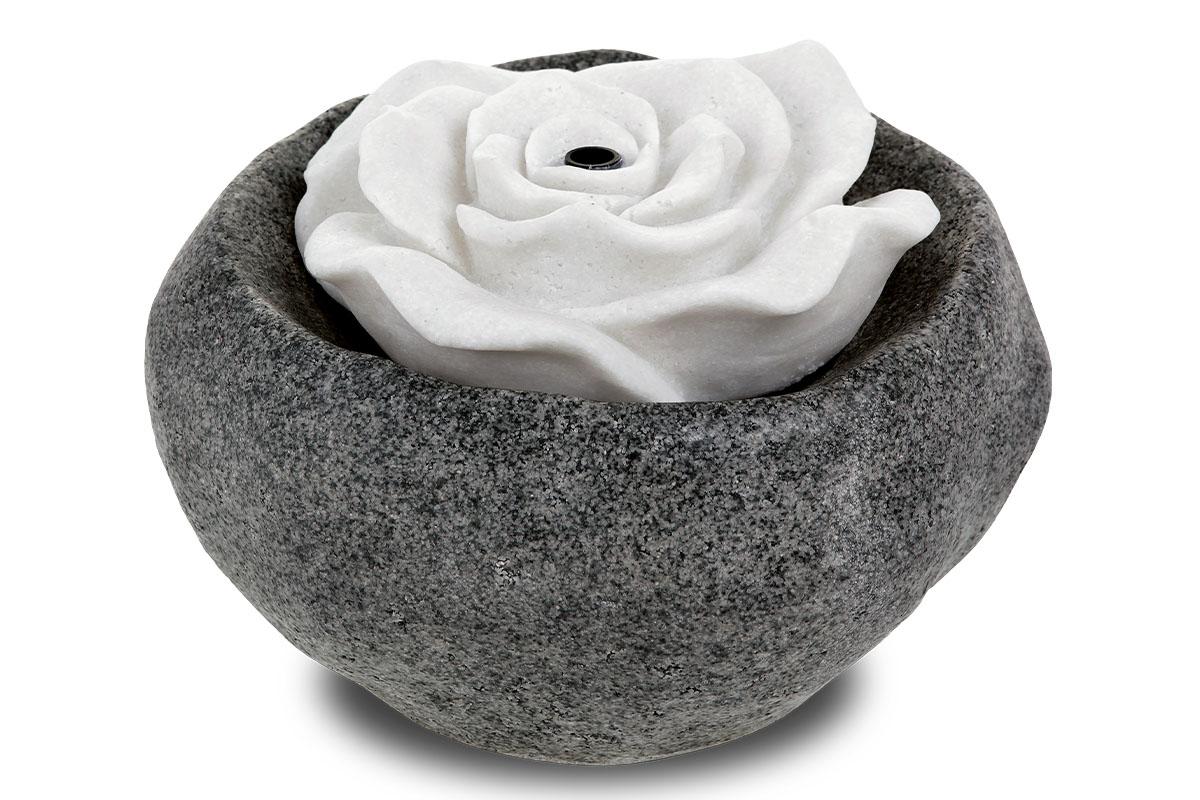 Autronic - Zahradní fontána s LED světlem, černý polyresin v dekoru kámen a bílá písková růže, elektrické miničerpadlo 240V/12V - ZF5481
