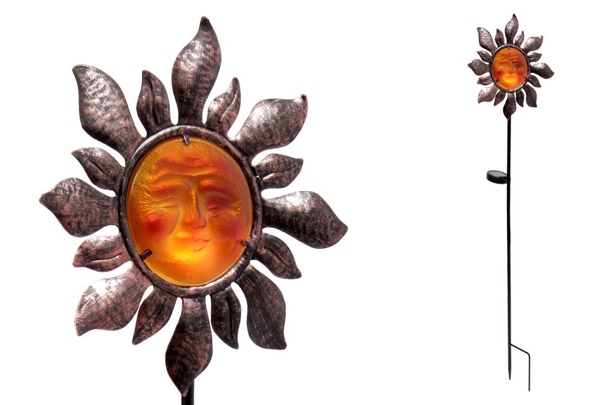 Autronic - Slunečnice s LED světlem, kovová zahradní dekorace, zápich (baterie na solární dobíjení) - ZS4402