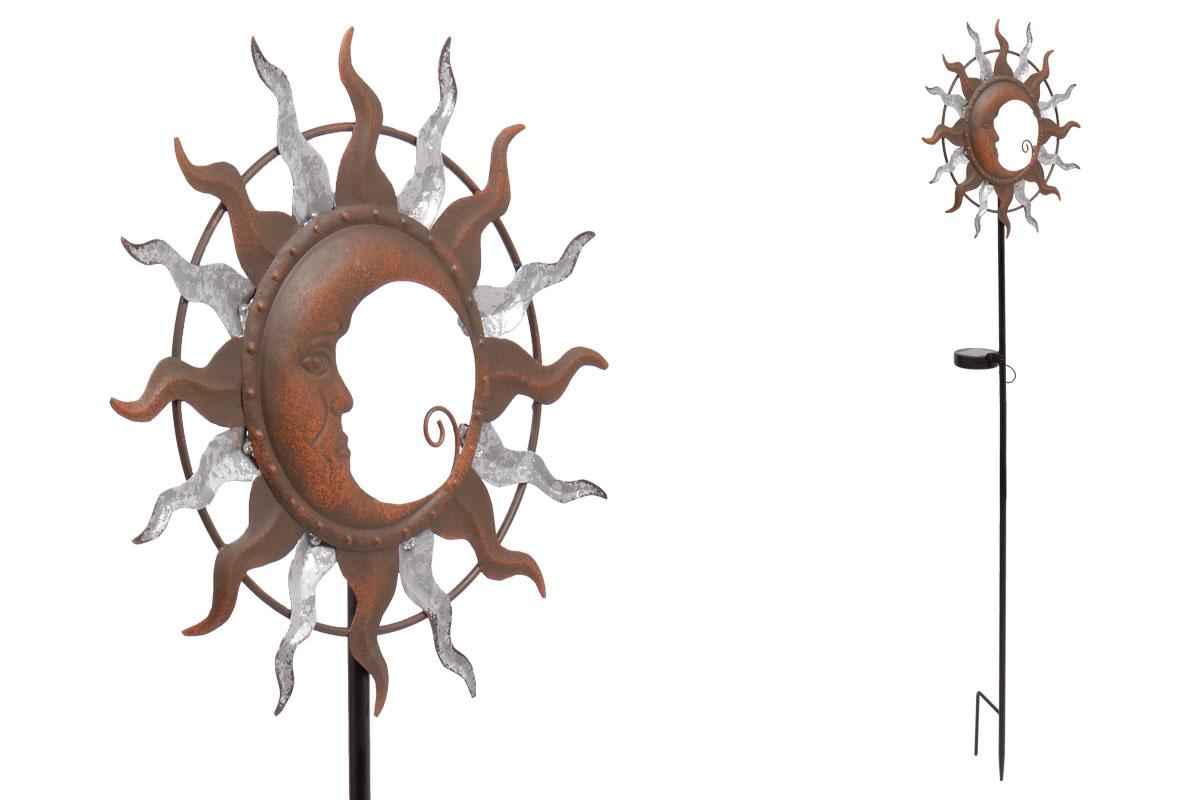 Autronic - Slunce a měsíc s LED světlem, kovová zahradní dekorace, zápich (baterie na solární dobíjení) - ZS4403
