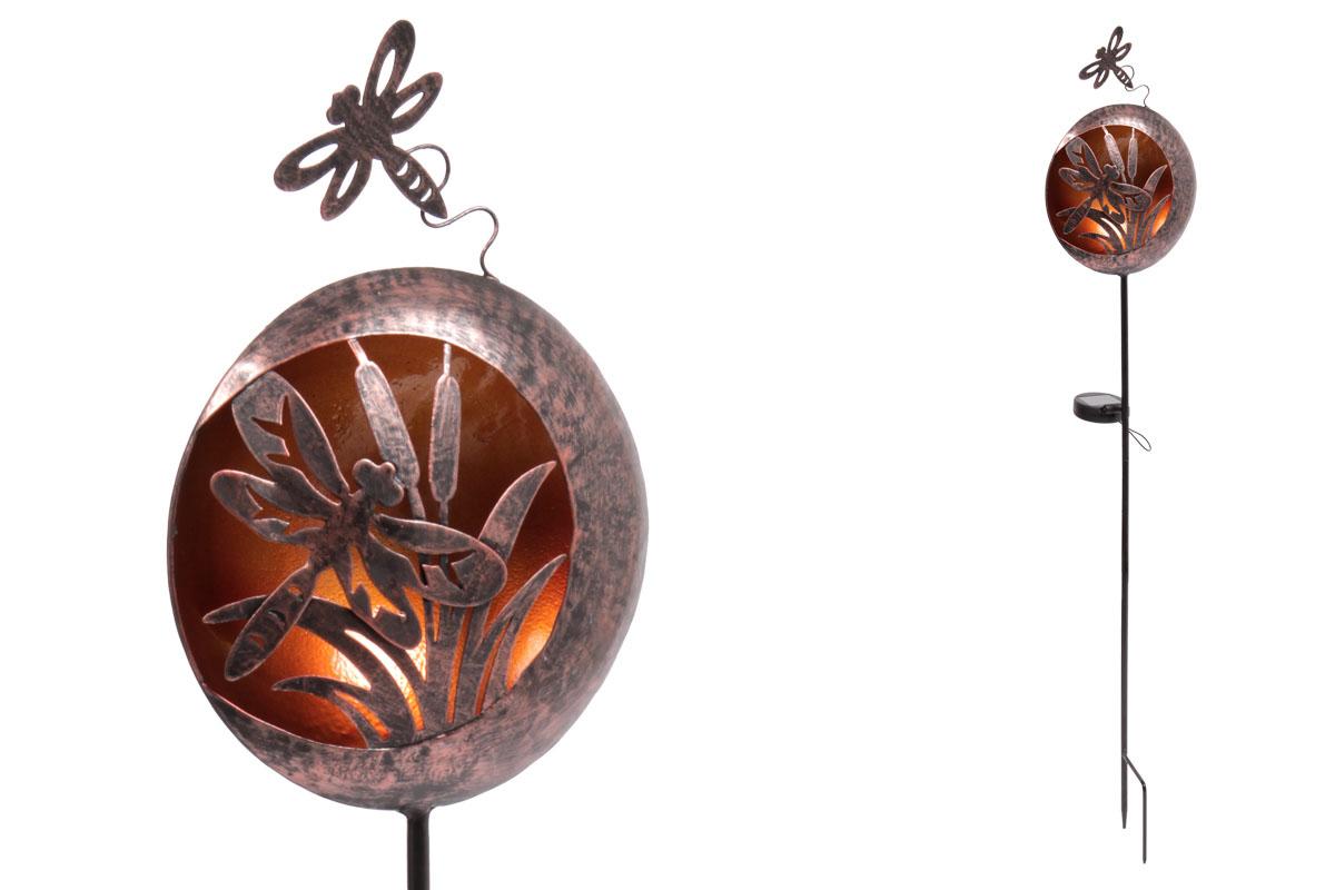 Autronic - Koule s vážkou s LED světlem, kovová zahradní dekorace, zápich (baterie na solární dobíjení) - ZS4406