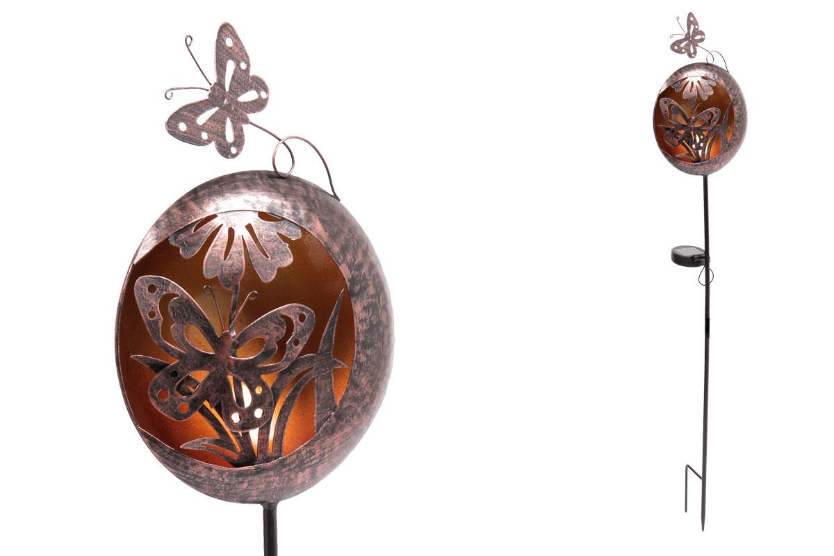 Autronic - Koule s motýlem a s LED světlem, kovová zahradní dekorace, zápich (baterie na solární dobíjení) - ZS4407