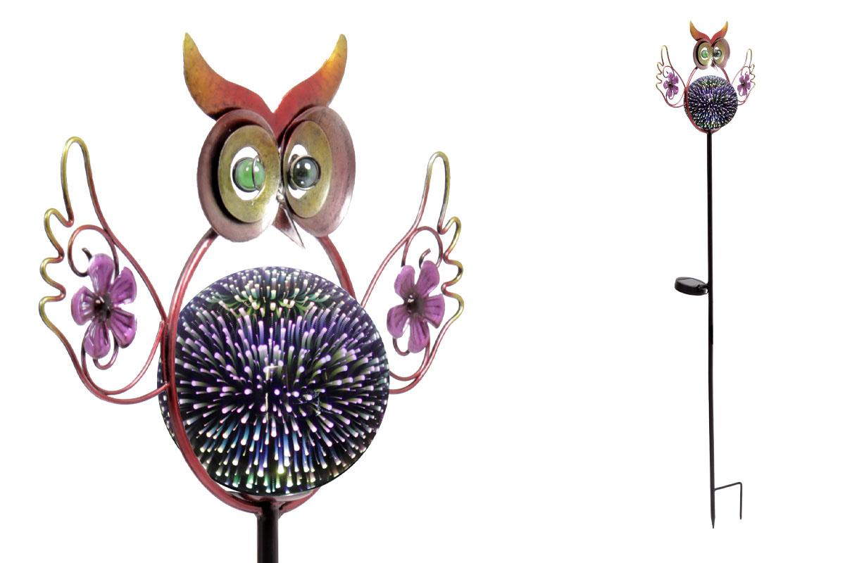 Autronic - Sova s LED světlem, kovová zahradní dekorace, zápich (baterie na solární dobíjení) - ZS4408