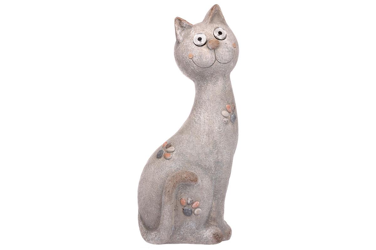 Autronic - Kočka s LED světlem, (baterie na solární dobíjení),MgO keramika. - ZS4421