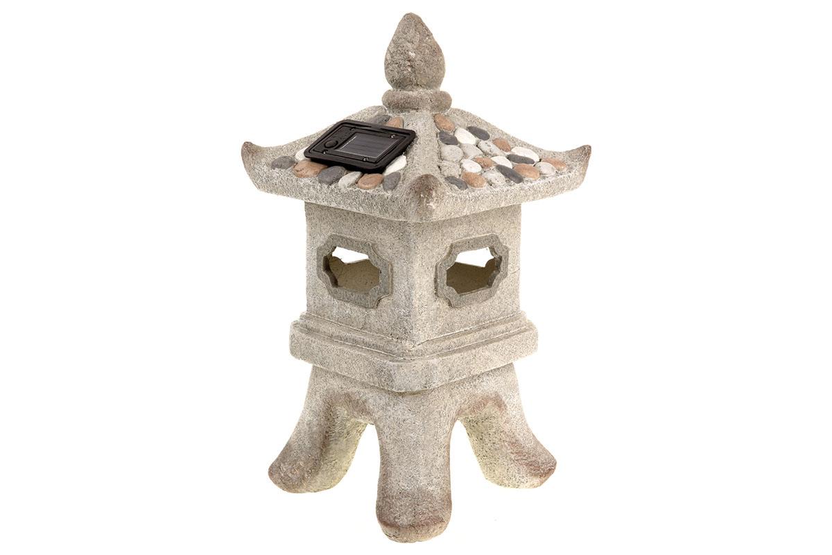 Autronic - Pagoda s LED světlem (baterie na solární dobíjení), zahradní MgO keramika. - ZS4426
