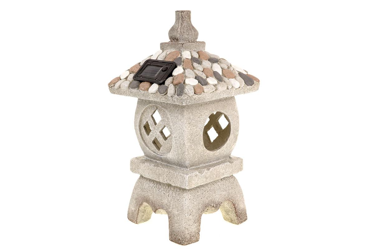 Autronic - Pagoda s LED světlem (baterie na solární dobíjení), zahradní MgO keramika. - ZS4427