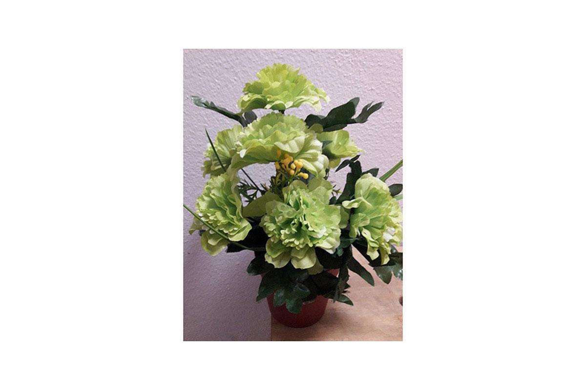 Azalky v plastovém květináči, umělá květina,  barva zelená