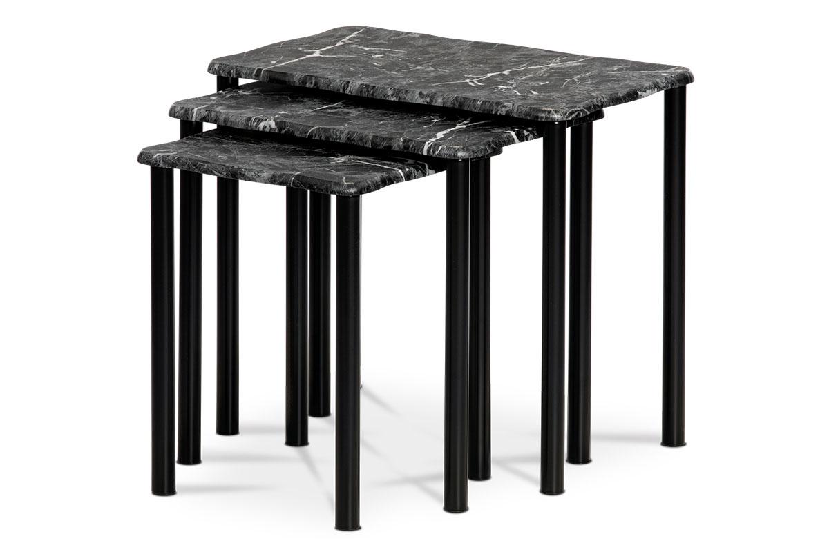Prístavné a odkladacie stolíky, set 3 ks, doska čierny mramor, kovové nohy, čierny matný lak