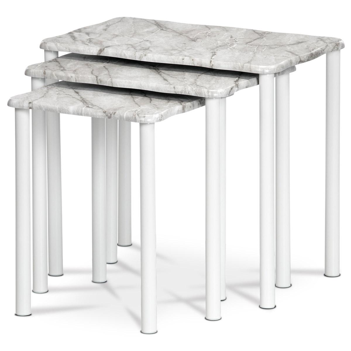 Prístavné a odkladacie stolíky, set 3 ks, doska sivobiely mramor, kovové nohy, biely matný lak