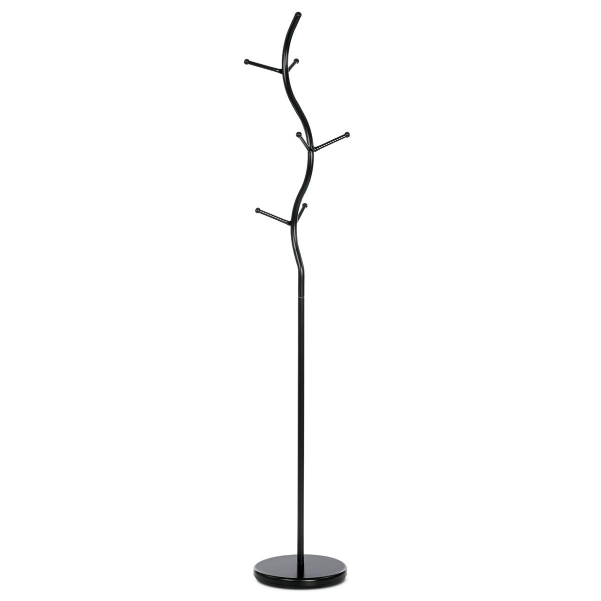 Stojanový vešiak, výška 181 cm, kovová konštrukcia, čierny matný lak, nosnosť 10 kg