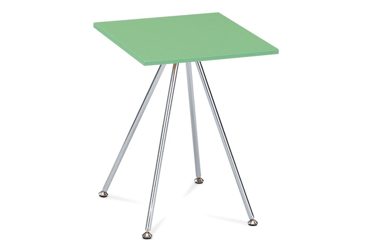 odkladací stolík, 40x40x52, vysoký lesk zelený, chróm