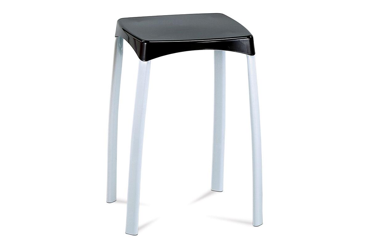 stolček, biela kostra čierny PVC sedák