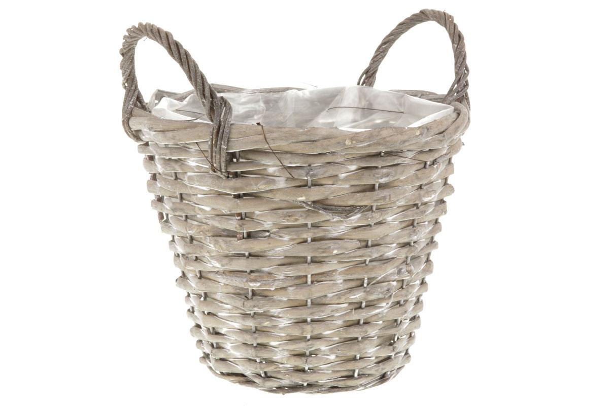 Košík aranžérský, proutěný  s dvěma uchy a  igelitem, barva šedá