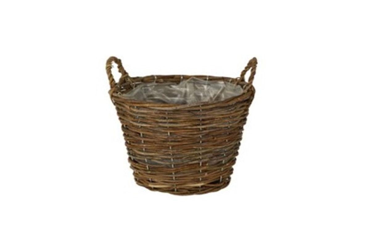 Košík aranžérský, ratanový  s dvěma uchy a  igelitem, barva hnědá