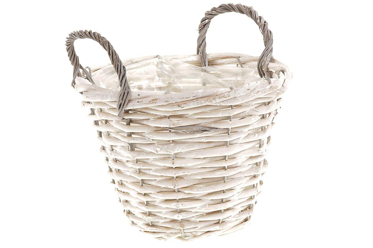 Košík aranžérský, proutěný  s dvěma uchy a  igelitem, barva bílá