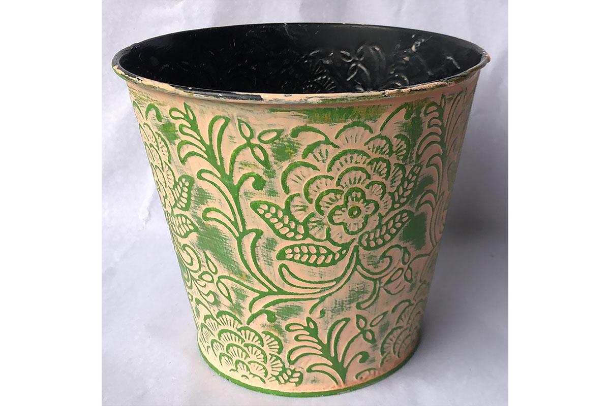 Obal kovový na květiny - zelená barva.