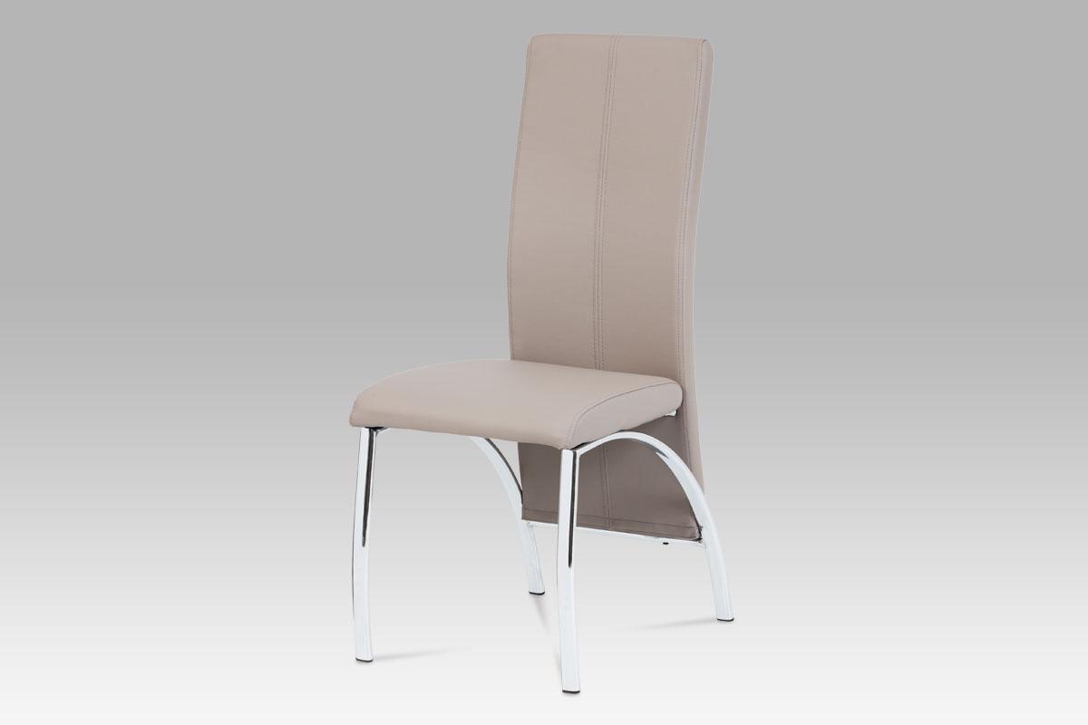 jedálenská stolička, koženka lanýž, chróm
