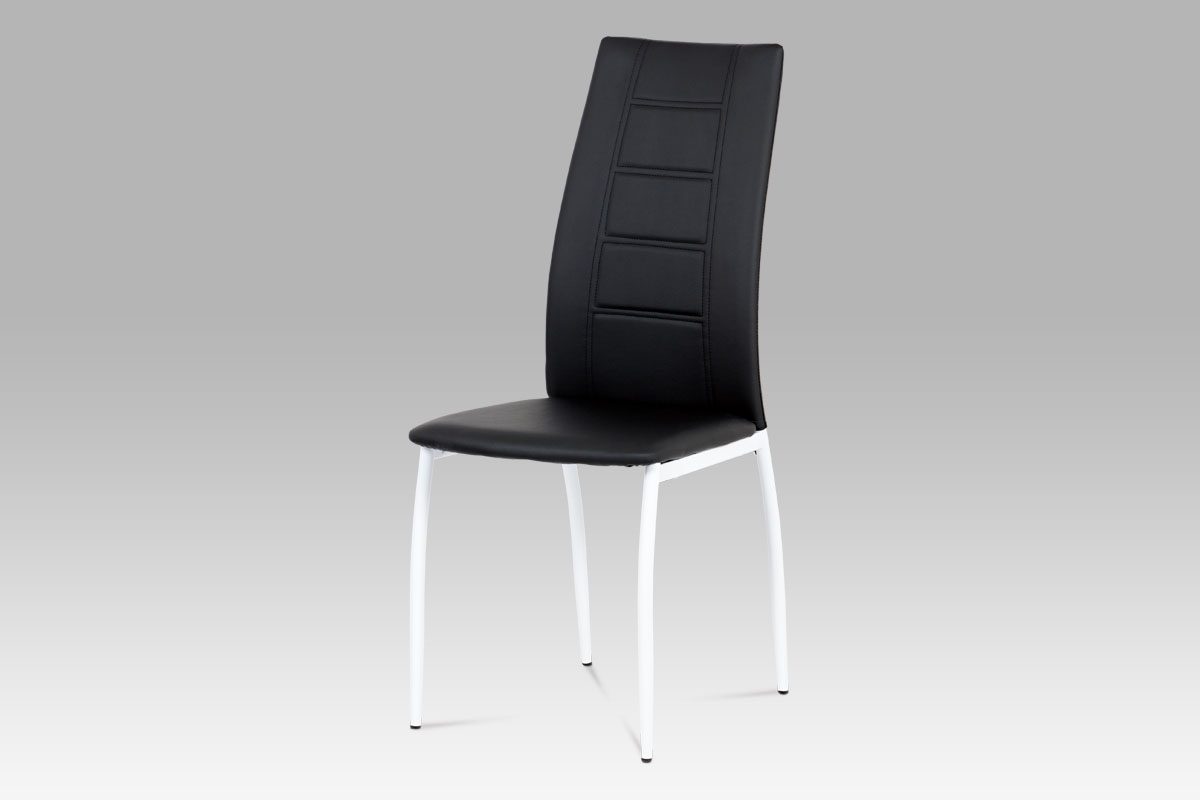 jedálenská stolička čierna koženka/biely lak