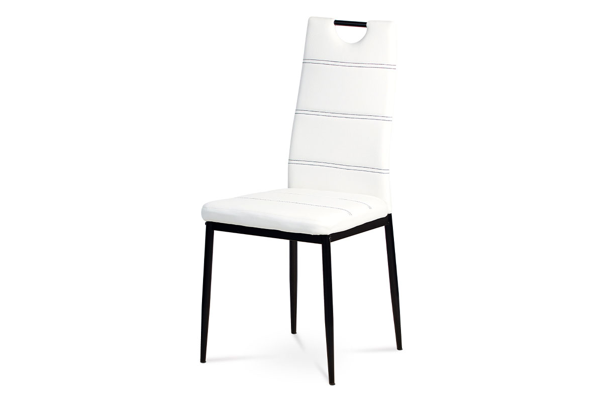jedálenská stolička, koženka biela, čierny lak