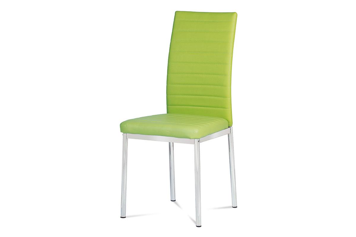 jedálenská stolička, koženka zelená, chróm
