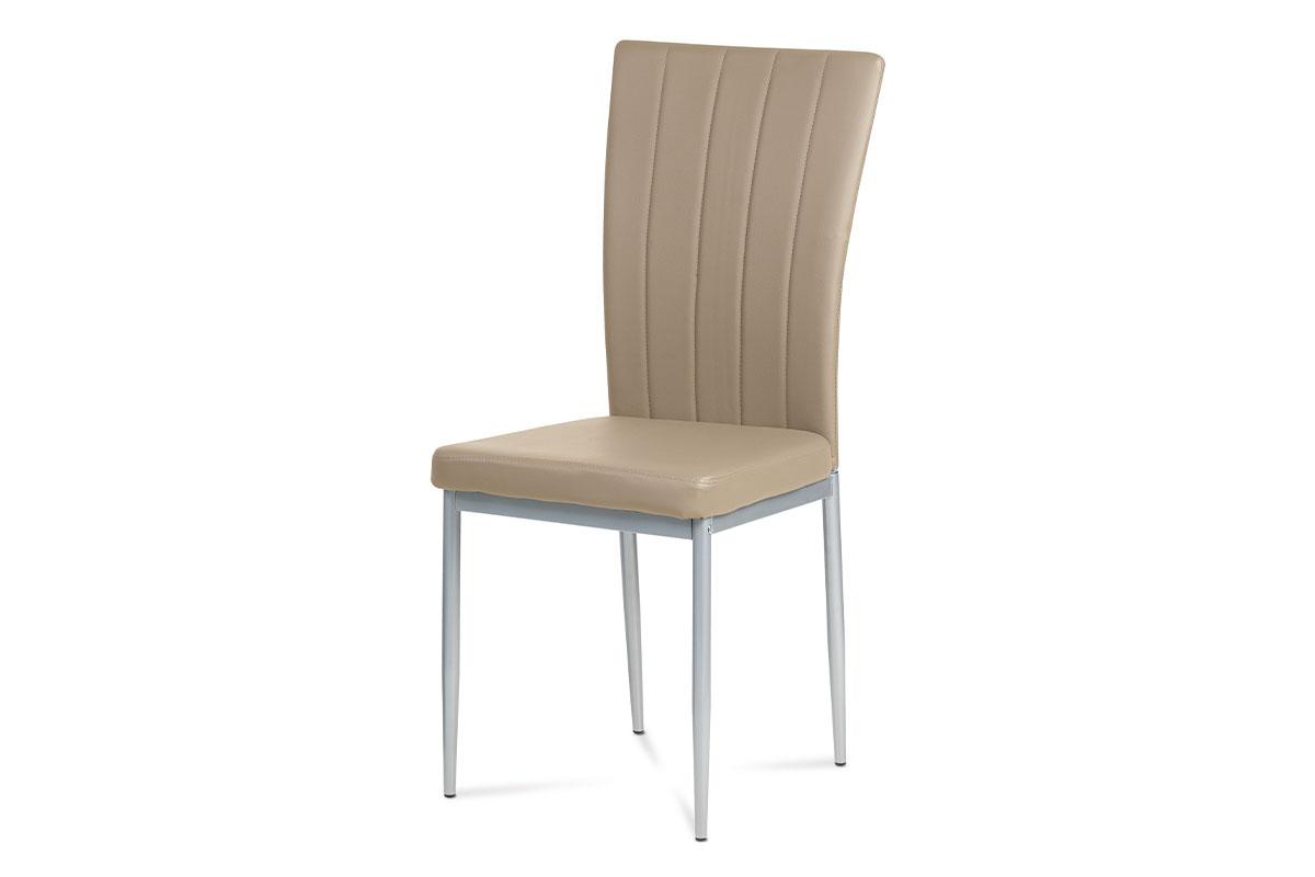 jedálenská stolička, koženka kapučíno, sivý lak