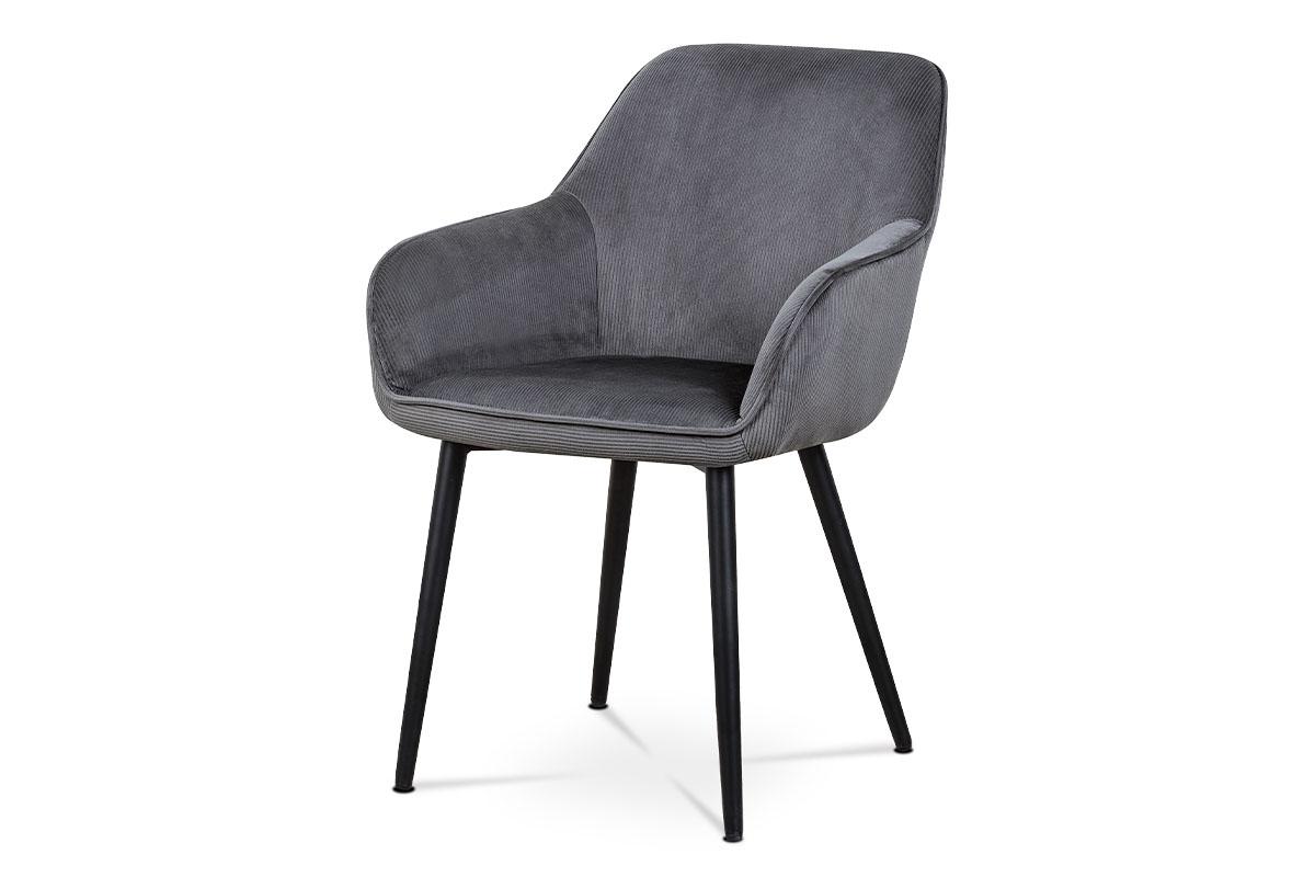 Jedálenská a konferenčná stolička, poťah sivá menčestrová látka, kovové nohy - čierny lak