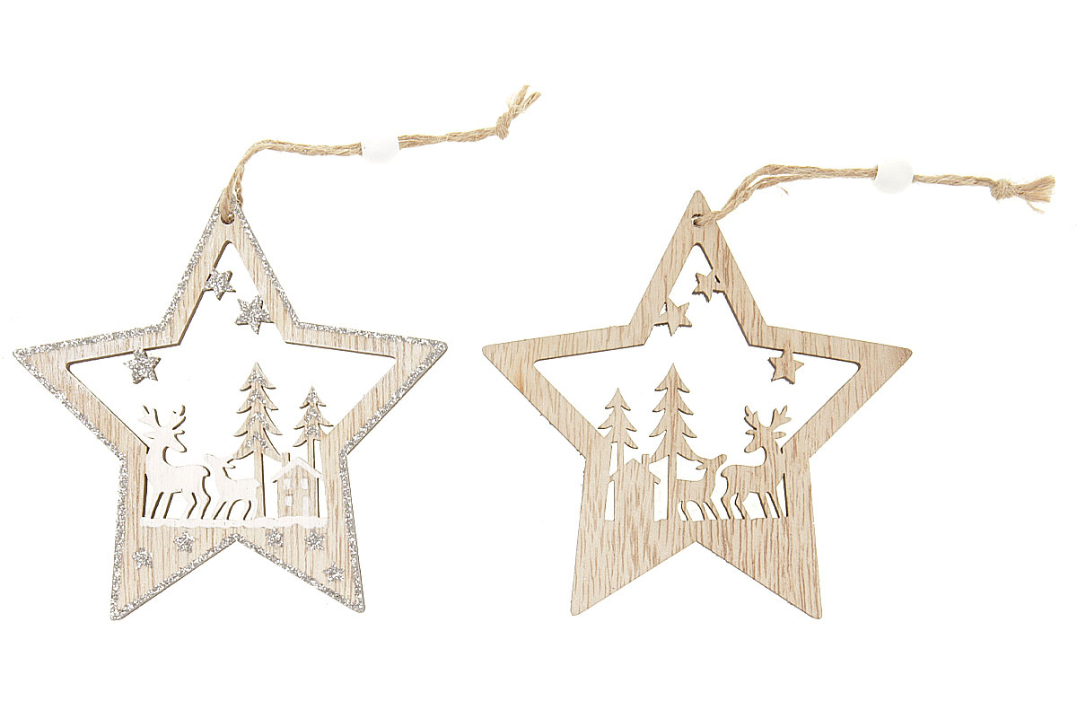 Hvězdička, vánoční dřevěná dekorace na zavěšení, v sáčku 2 kusy, cena za 1 sáček