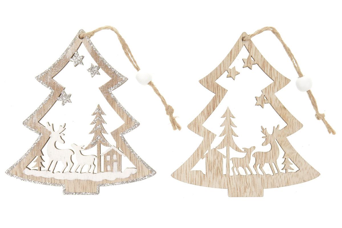 Stromeček, vánoční dřevěná dekorace na zavěšení, v sáčku 2 kusy, cena za 1 sáček