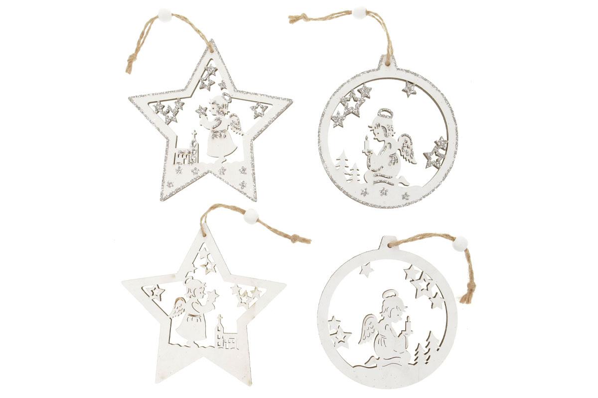 Hvězdička nebo koulička, vánoční dřevěná dekorace  na zavěšení, v sáčku 2 kusy, cena za 1 sáček