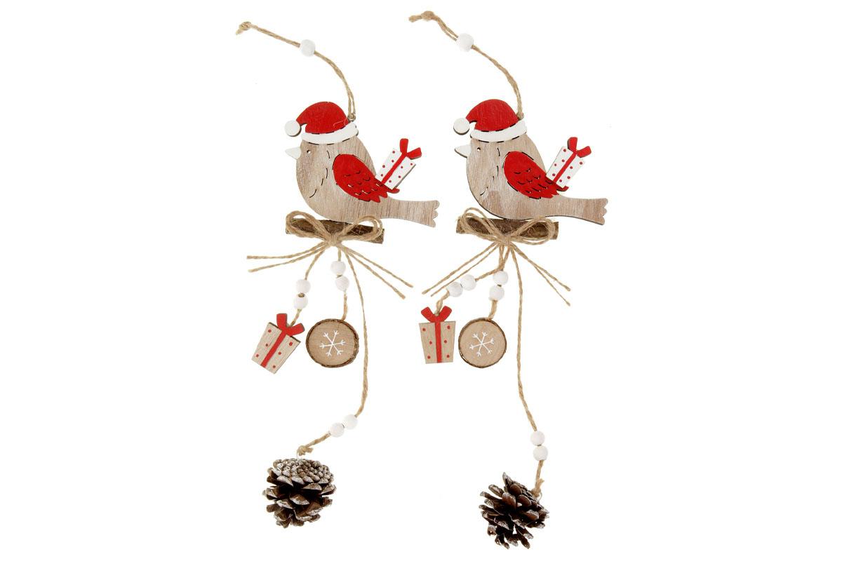 Ptáček, vánoční dřevěná dekorace na zavěšení, v sáčku 2 kusy, cena za 1 sáček, mix 2 druhů