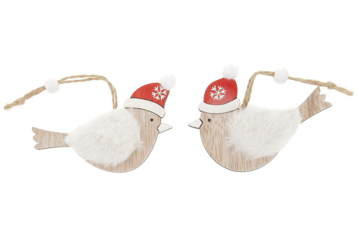Ptáček, vánoční dřevěná dekorace s plyšem na zavěšení, v sáčku 2 kusy, cena za 1 sáček