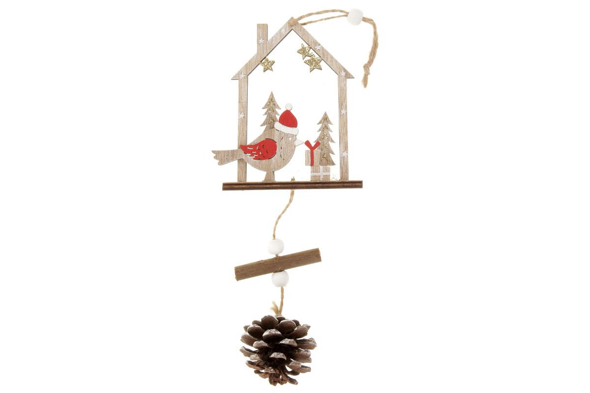 Ptáček s domečekem, vánoční dřevěná dekorace na zavěšení, v sáčku 1 kus.