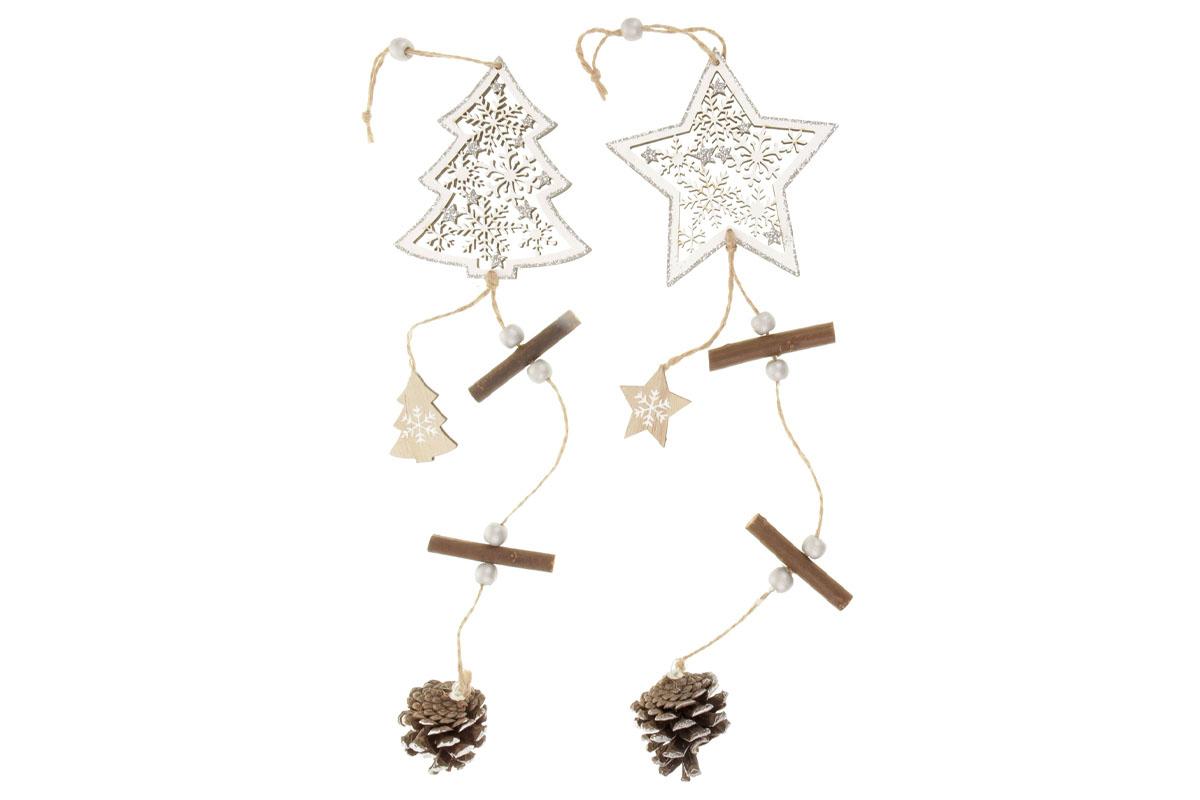 Hvězdička nebo srdíčko, vánoční dřevěná dekorace  na zavěšení, v sáčku 1 kus