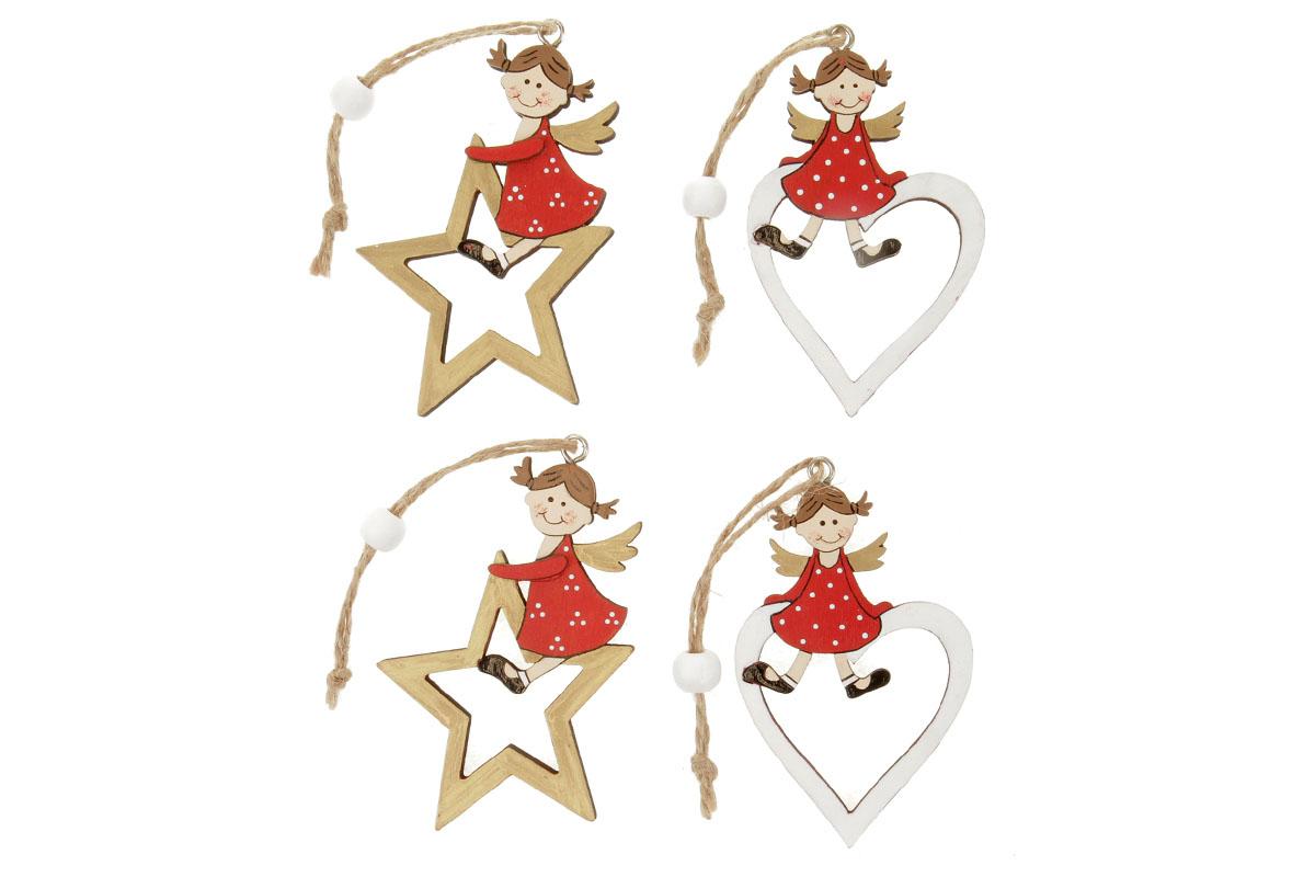 Hvězdička nebo srdíčko s andělíčkem, vánoční dřevěná dekorace na zavěšení, v sáčku 2 kusy