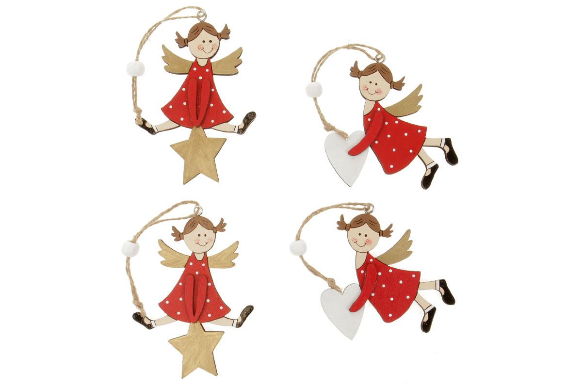 Andělíček s hvězdičkou nebo se srdíčkem, vánoční dřevěná dekorace  na  zavěšení, v sáčku 2 ks