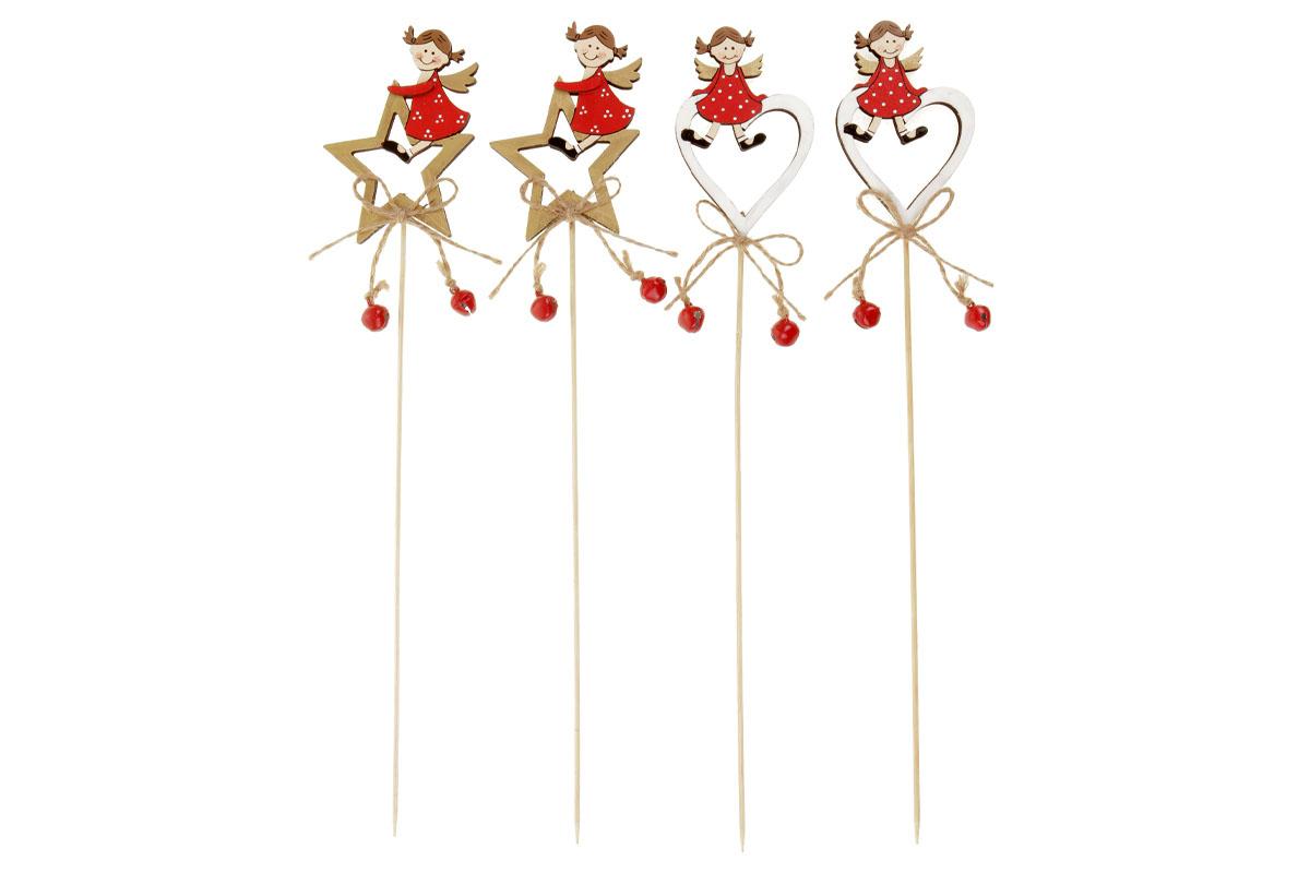Hvězdička nebo srdíčko s andělíčkem, vánoční dřevěná dekorace zápich, v sáčku 2 kusy