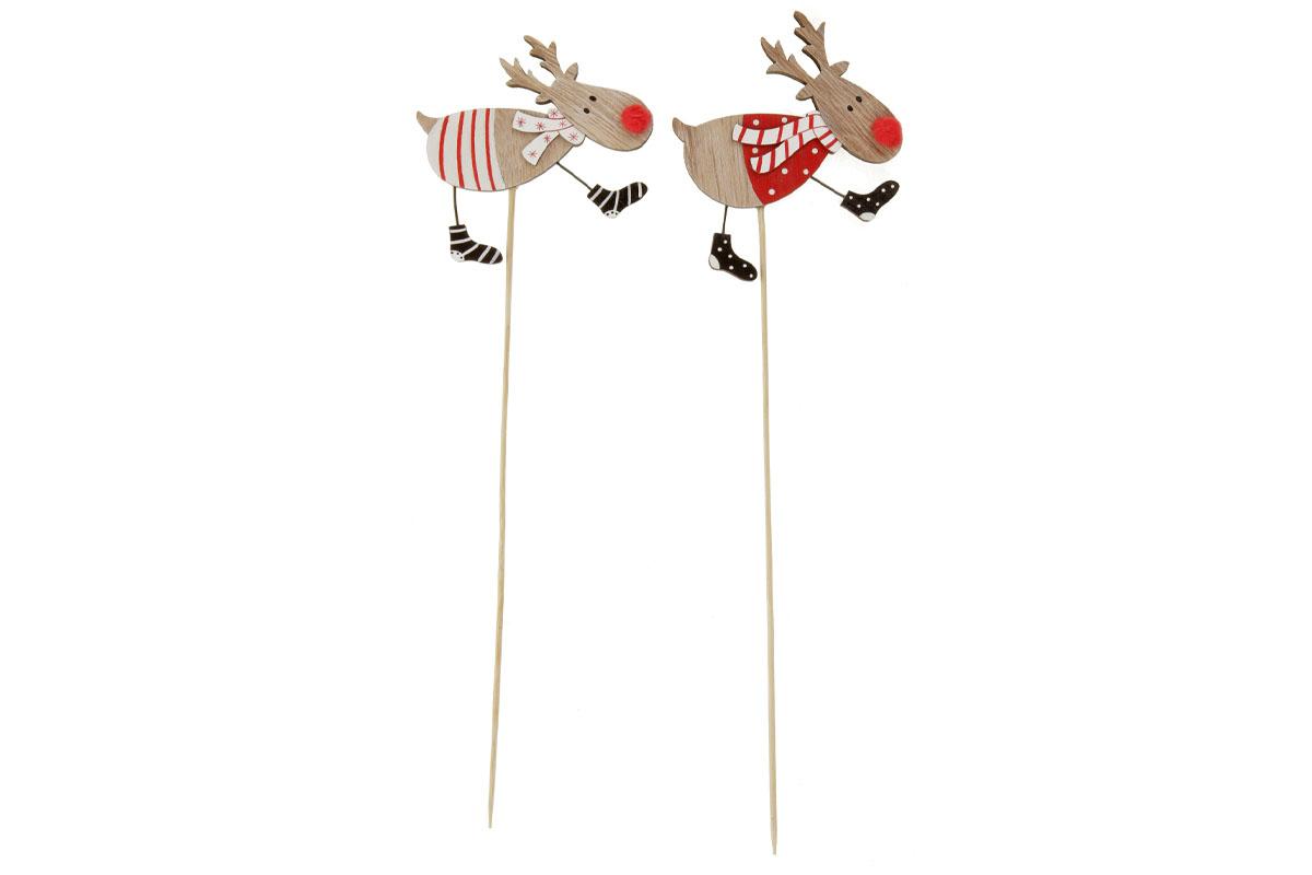 Sob, vánoční dřevěná dekorace zápich, v sáčku 2 kusy, cena za 1 sáček