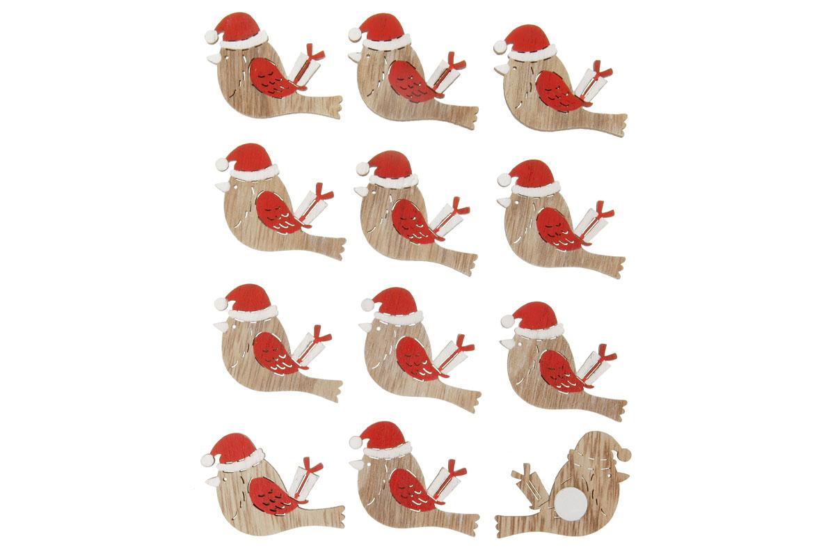 Ptáčci, vánoční dřevěná dekorace na přilepení, v sáčku 12 kusů, cena za 1 sáček