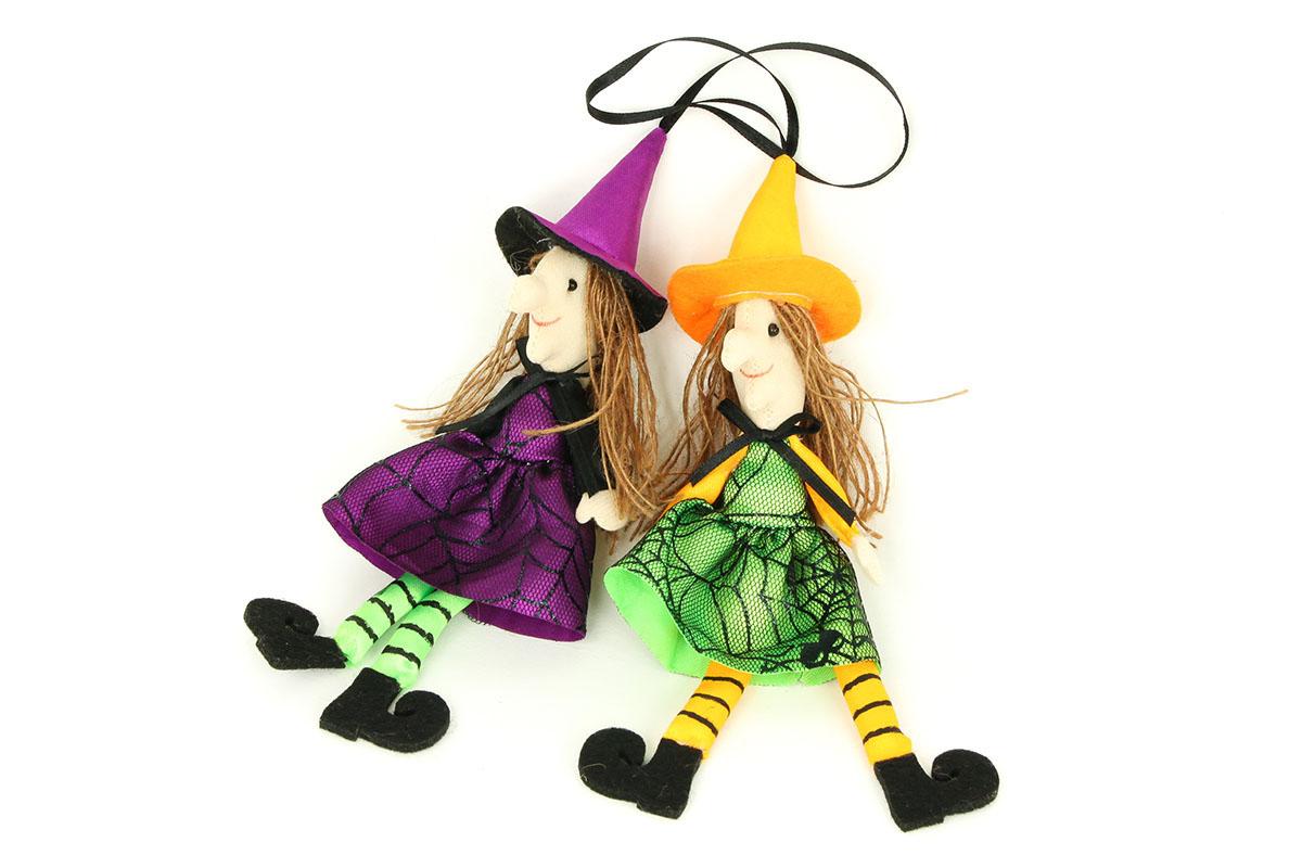 Čarodejnica na zavesenie, textilná dekorácia, 12 ks v sáčku, cena za 1 ks