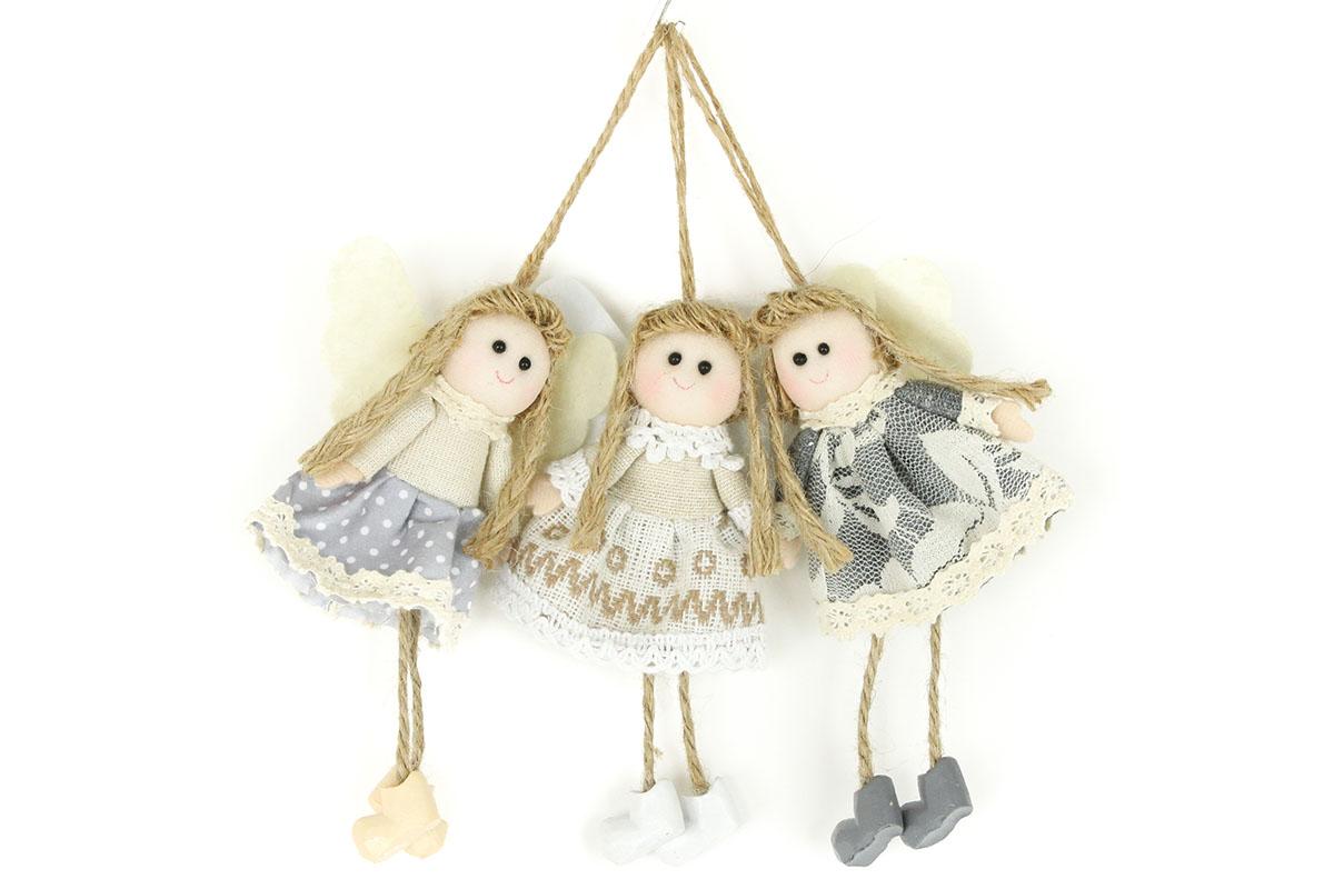 Anjelik, textilná dekorácia, mix 3 druhov, cena za 1 kus