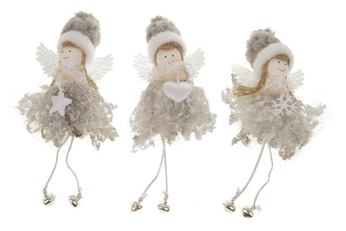 Anjelik, vianočná dekorácia na zavesenie, farba šedá, mix 3 druhov, cena za 1 ks