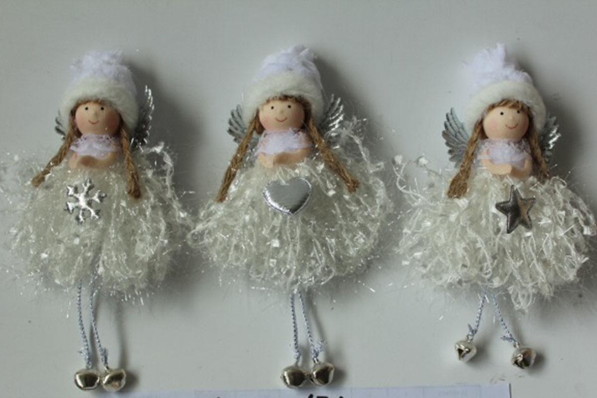 Andělka, vánoční dekorace na pověšení, barva bílá,  mix 3 druhů, cena za 1 ks.